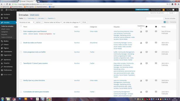 Wordpress desde cero - El menú Entradas